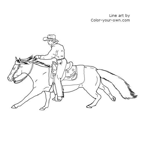 Horse  Reining horse Coloring Page