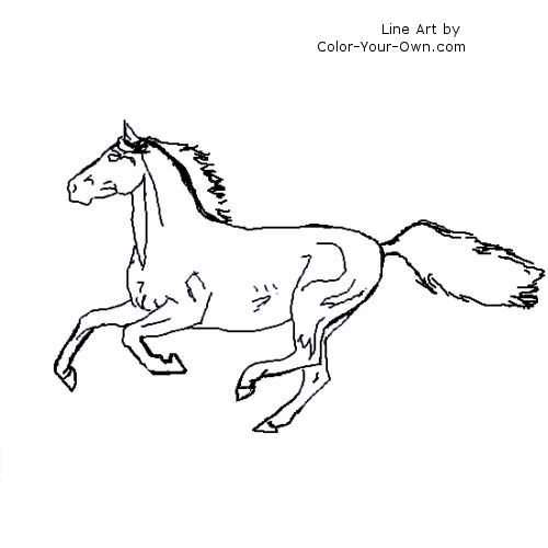 coloring pages horses running - photo #27