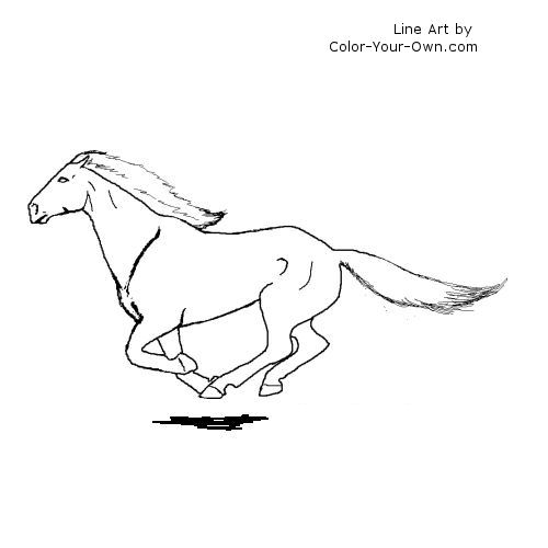 Galloping Nokota Mustang Coloring Page