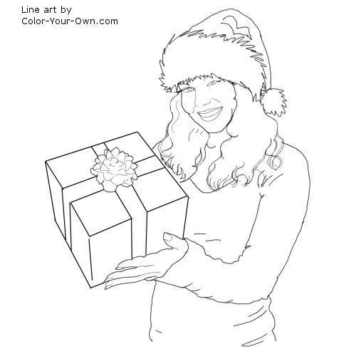 Woman holding a gift Line Art