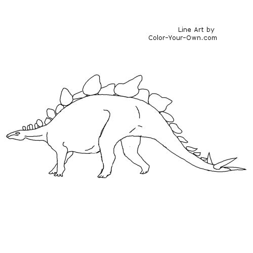 Line Art By Color Your Own : Dinosaur stegosaurus coloring pages