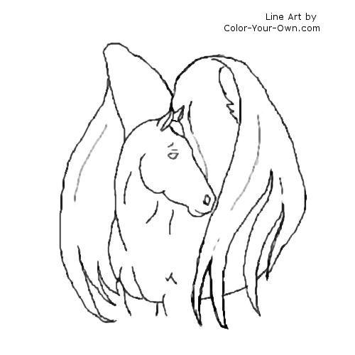 Winged Horse Line Art