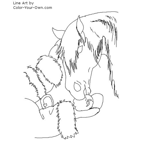 christmas horse getting an apple from santa line art