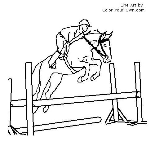 Coloring Pictures Of Horses Jumping. Back to the coloring pages index  Warmblood Jumping Horse under saddle Coloring Page