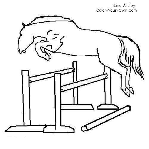Warmblood Jumping Horse at Liberty Coloring Page