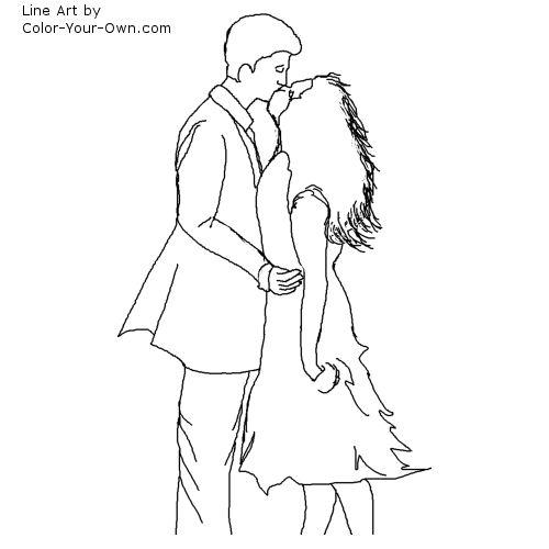 Valentine Windswept Couple Kissing Line Art