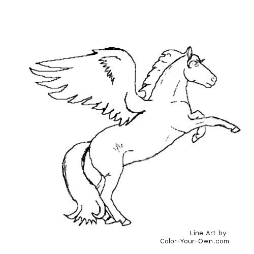 Line Art By Color Your Own : Fantasy winged horse coloring page