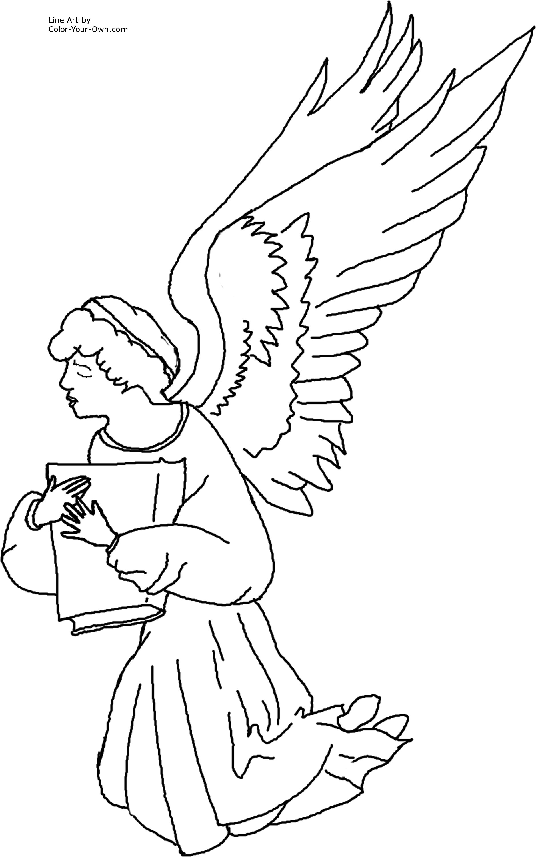 Uncategorized Coloring Pages Angel kneeling angel coloring page printable size click here return to the pages index
