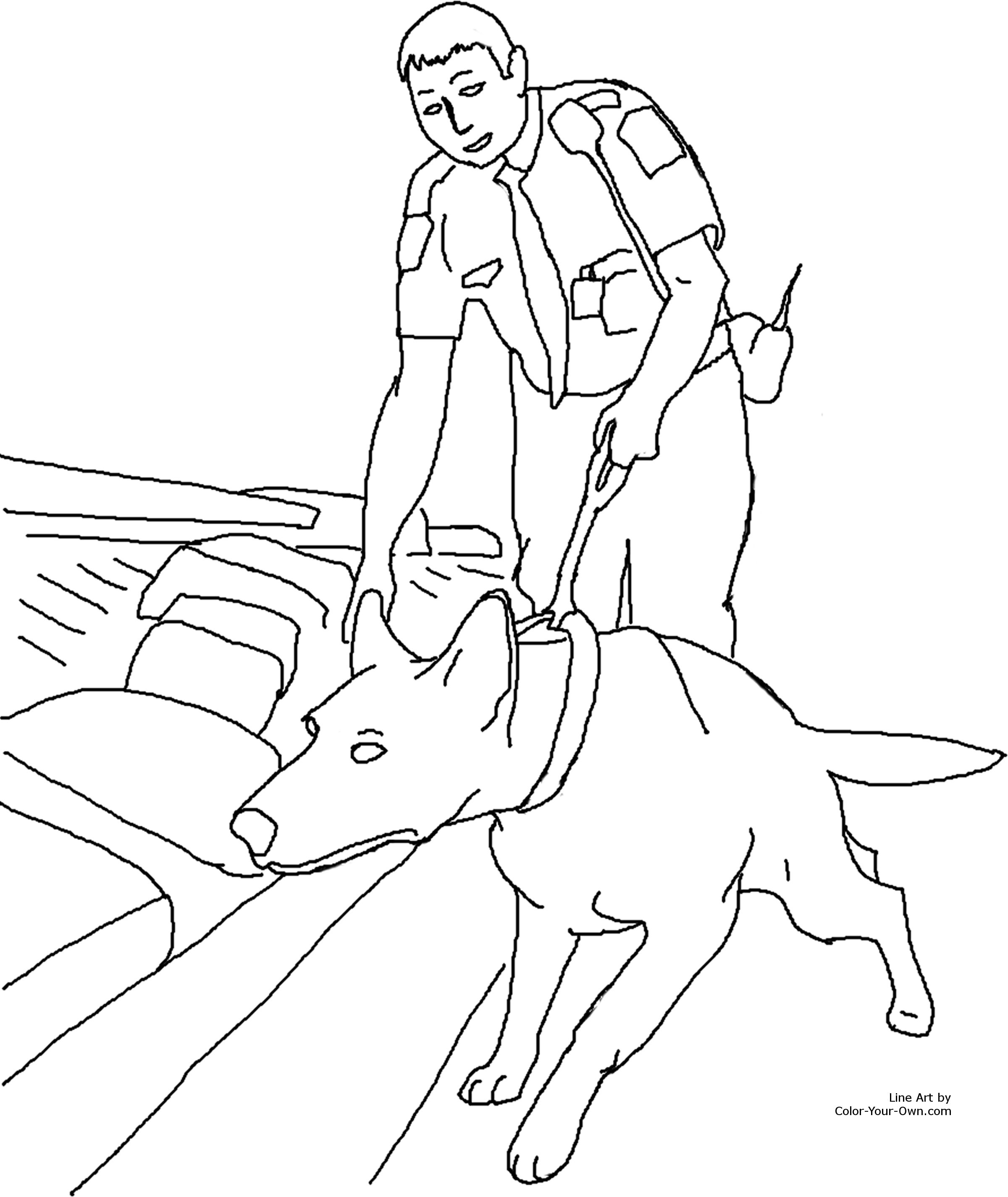 Drug Detection Service Dog Coloring