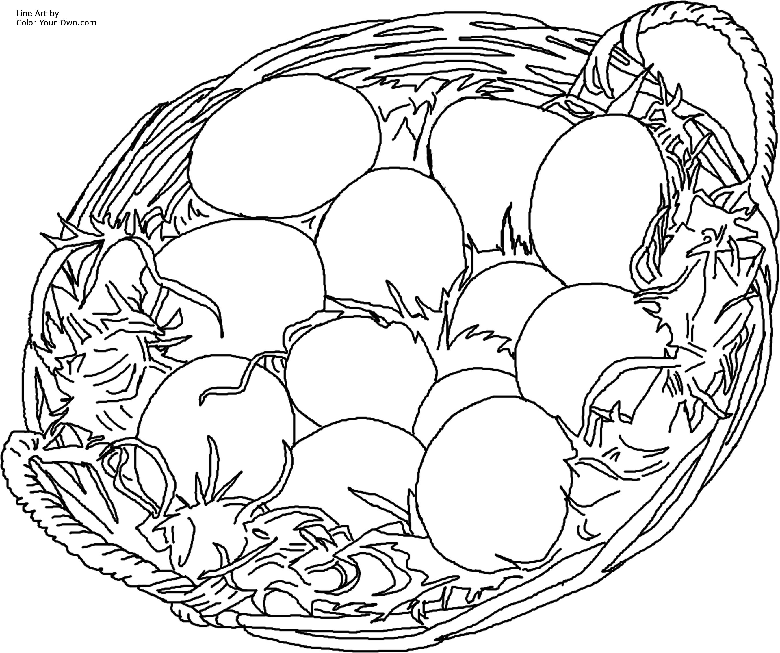Easter Eggs in Basket Coloring Page
