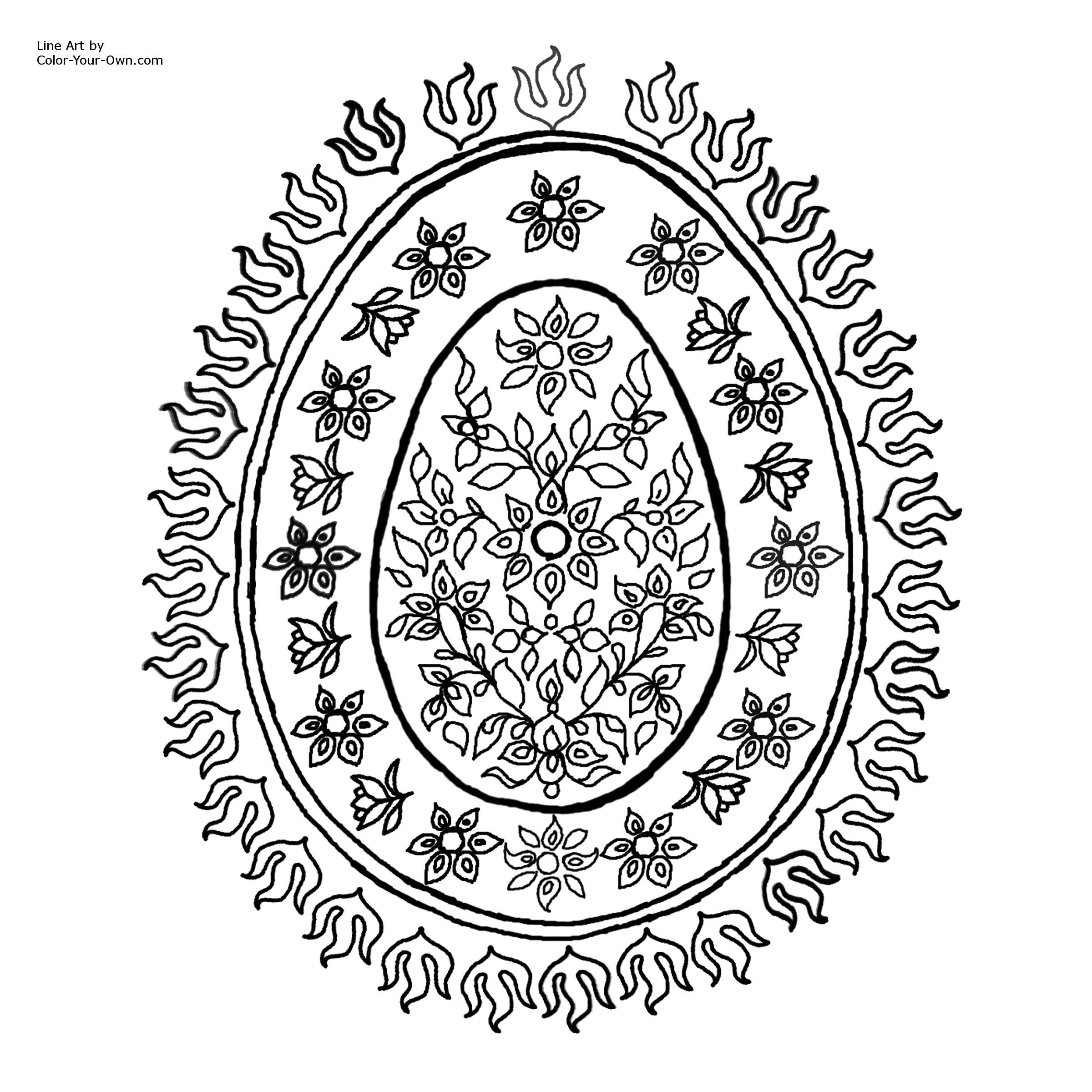 decorative egg pattern with flowers coloring page for easter