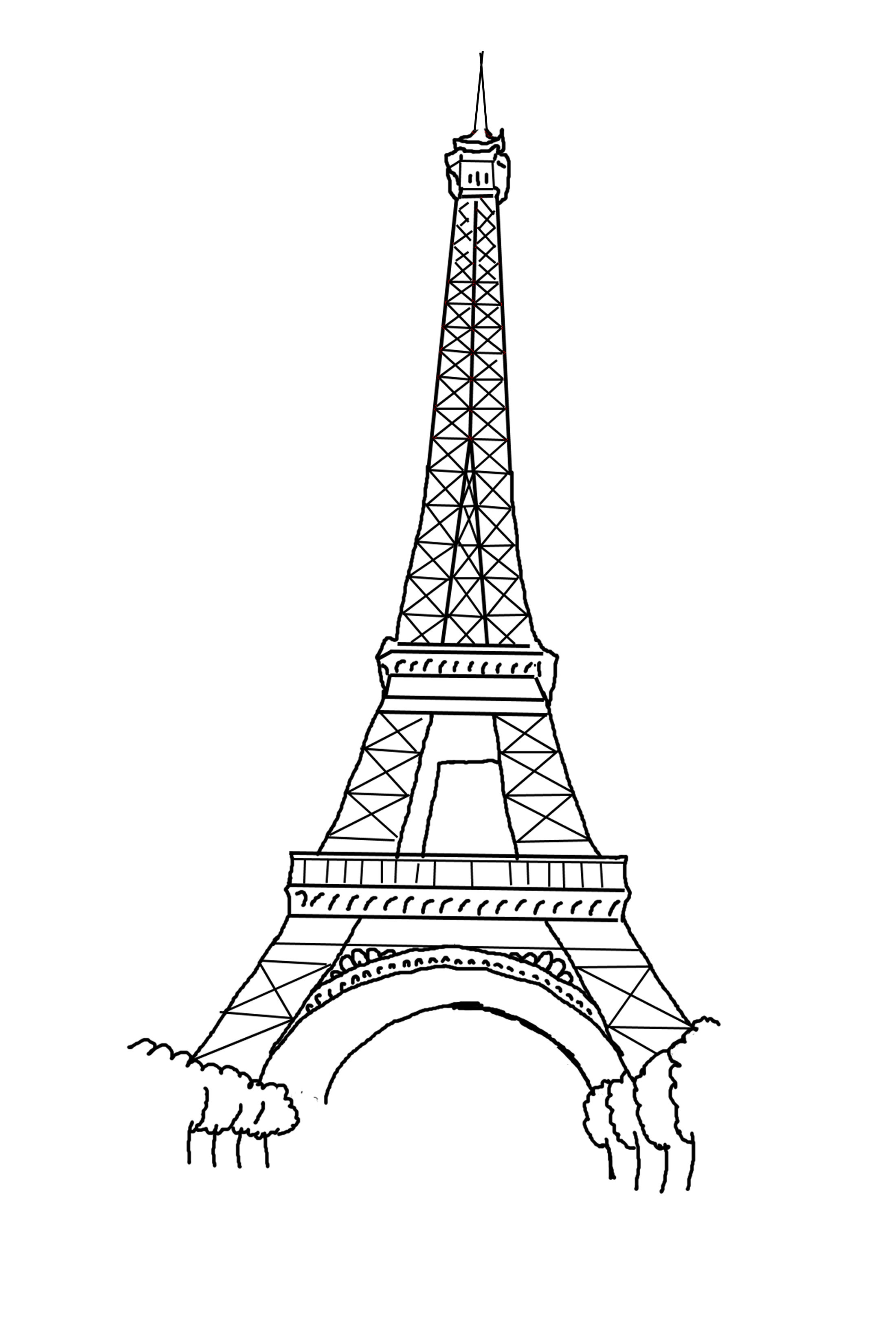 Eiffel Tower Line Art Click Here For The Free Printable Coloring Page 85 By 11 Inch Paper