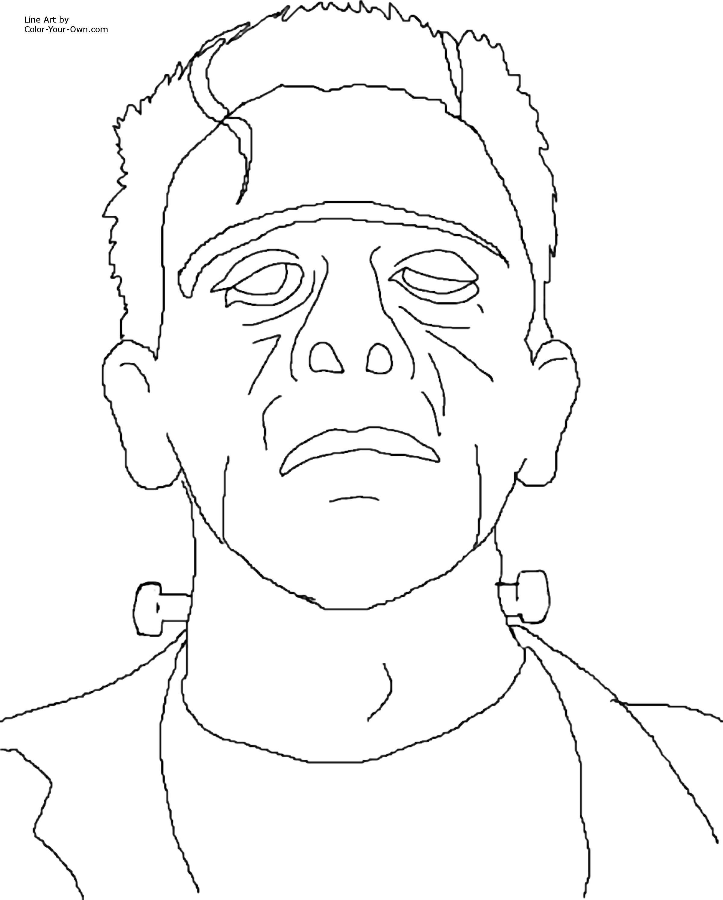 Frankenstein Coloring Pages Simple Classic Monster Movie  Frankenstein Coloring Page Decorating Design
