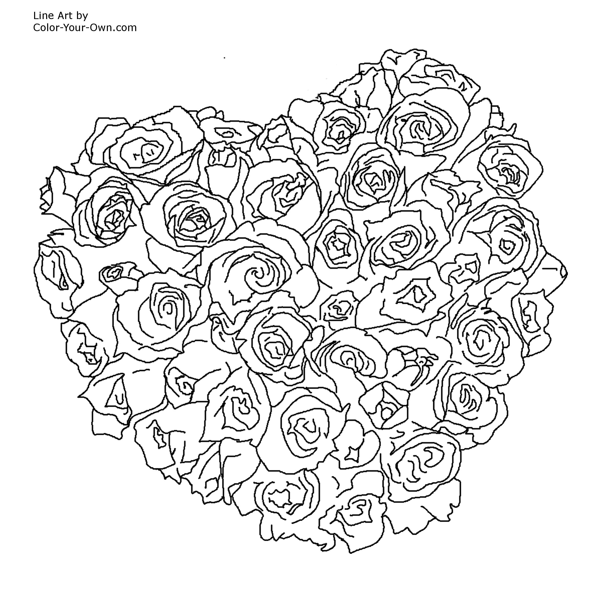 Valentine Heart of Roses Coloring Page
