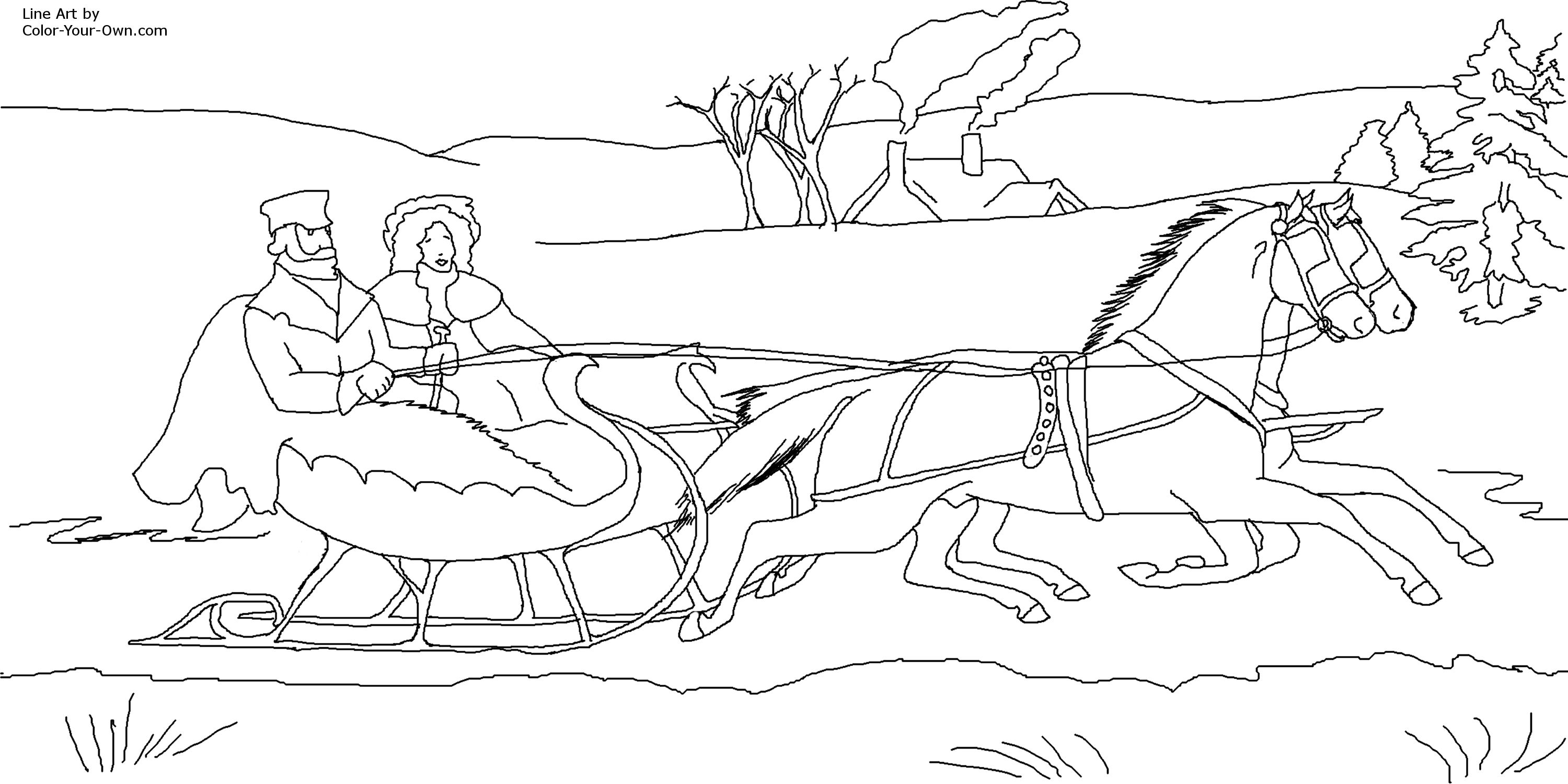 Coloring page one horse open sleigh - Horse Drawn Sleigh Coloring Page