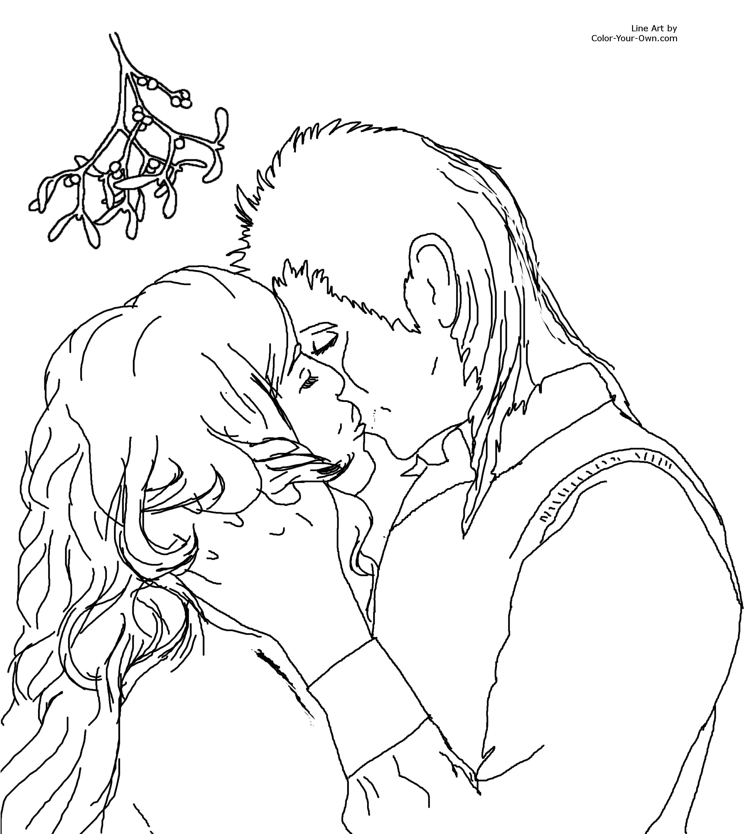 Kissing Coloring Pages
