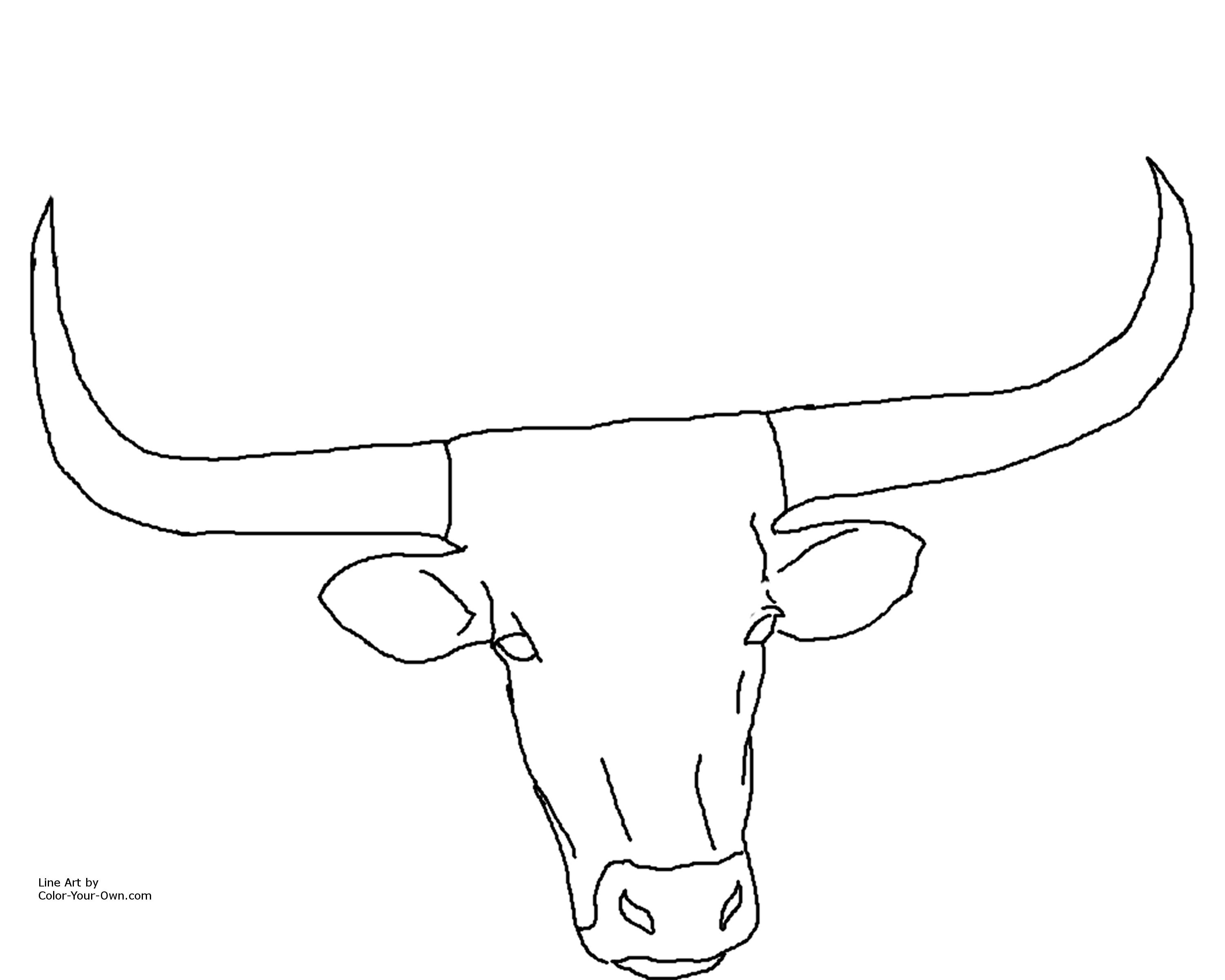 Texas bull coloring page coloring pages for Longhorn coloring page