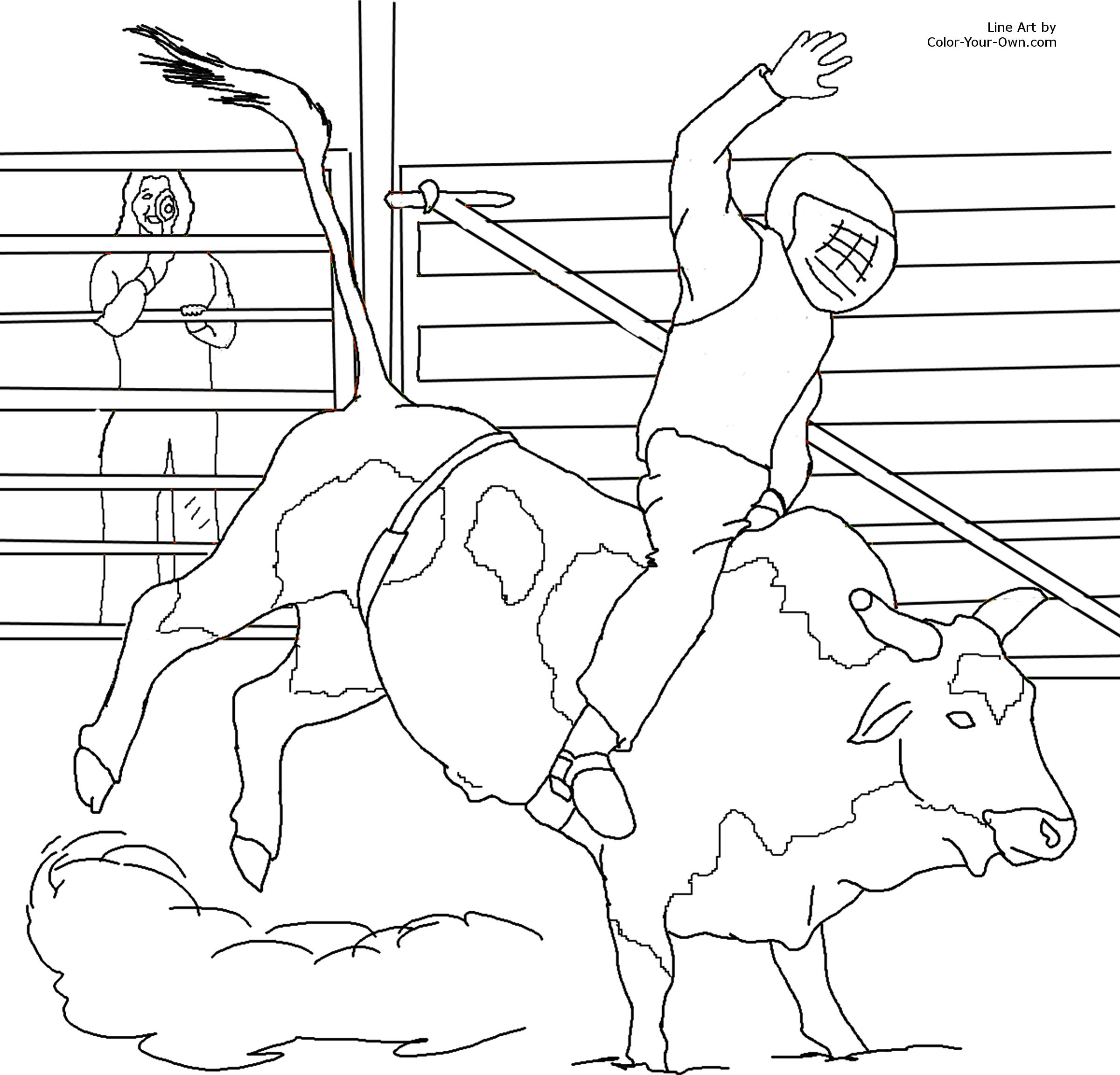 Miniature bucking bull coloring page for Bucking bull coloring pages