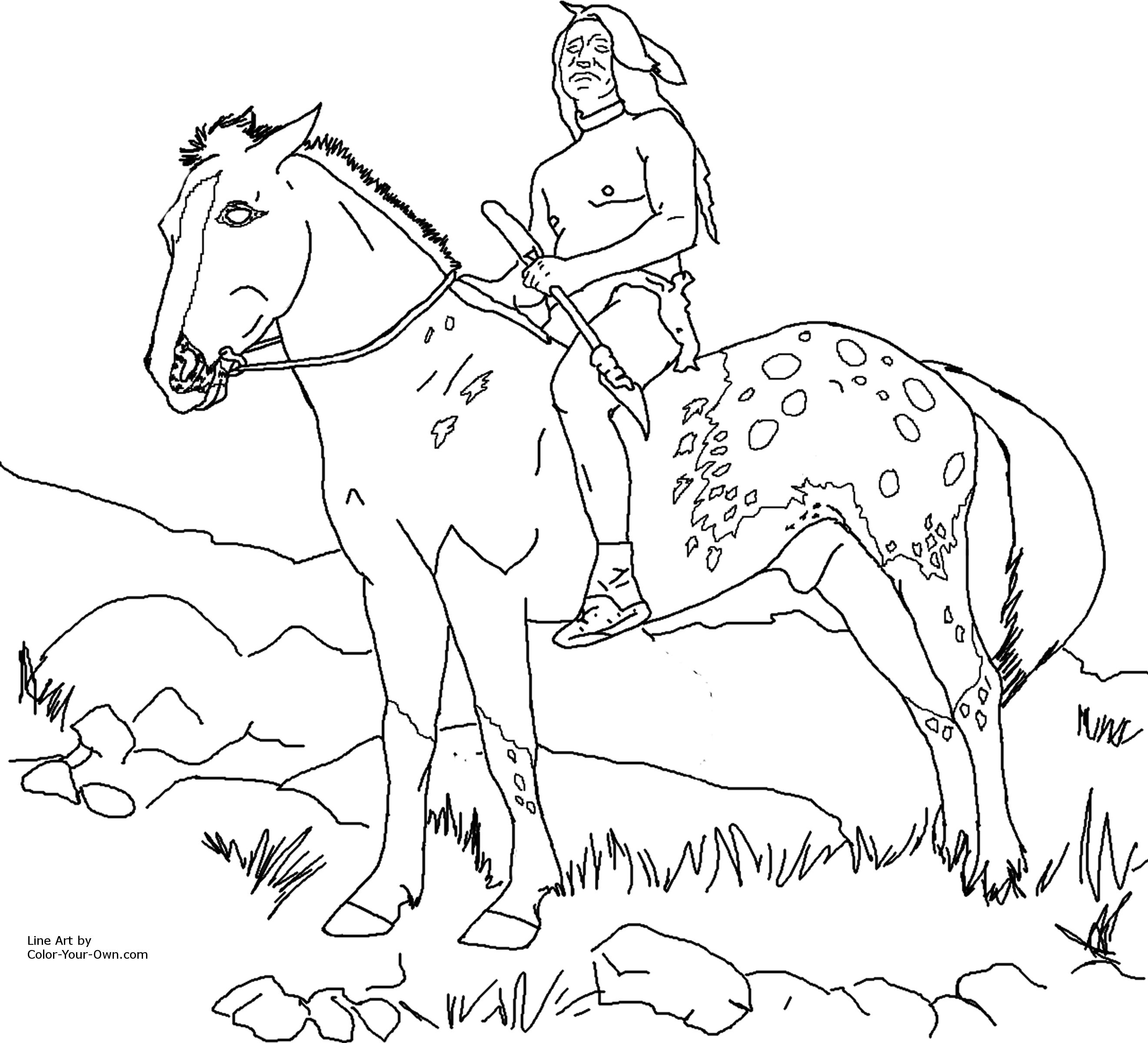 Native American Coloring Pages Print http://color-your-own.com/horse_nez_perce_appaloosa.html