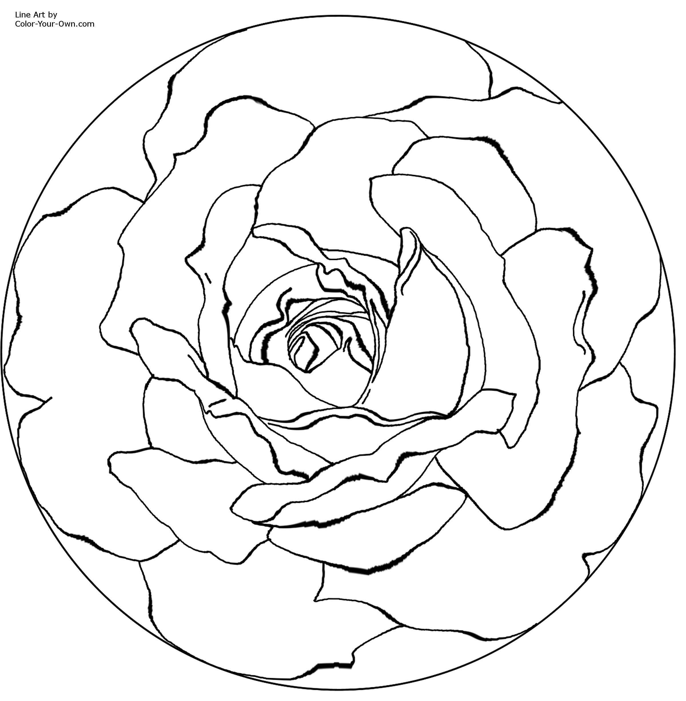 Free Coloring Pages Of Rose Mandala