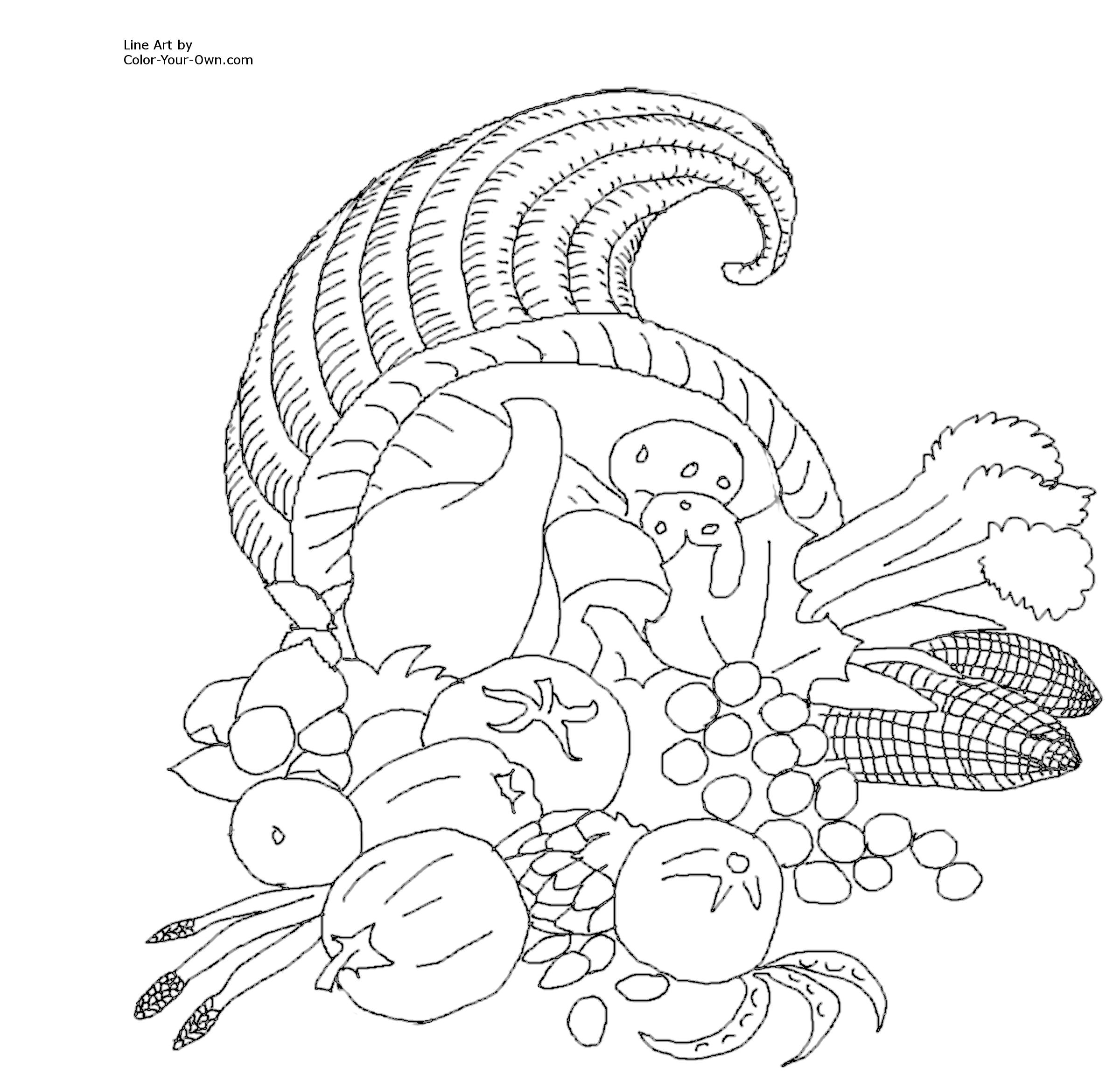 Printable Cornucopia Coloring Page Coloring Pages Cornucopia Printable Coloring Pages