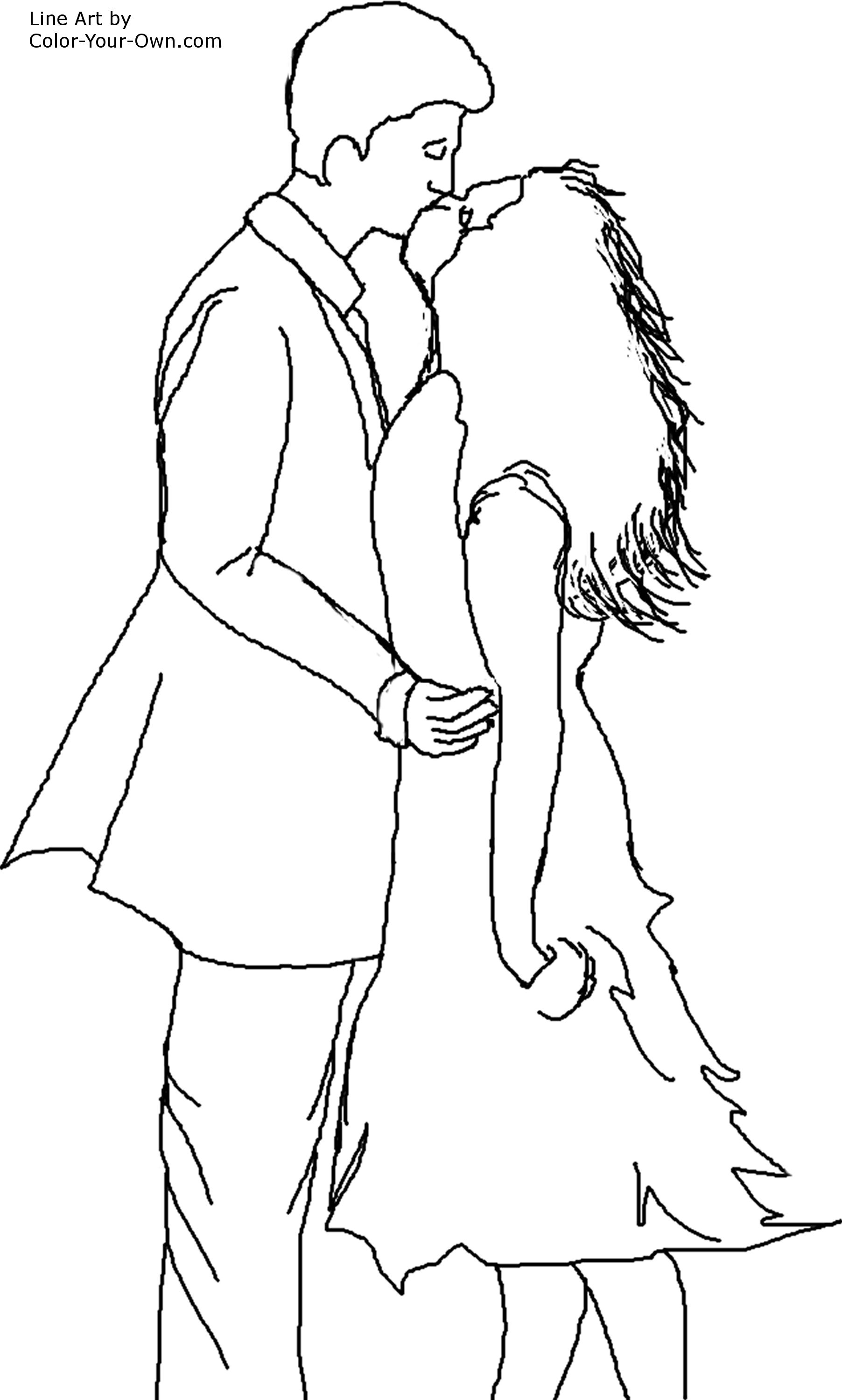 Valentine Windswept Couple Kiss Coloring Page