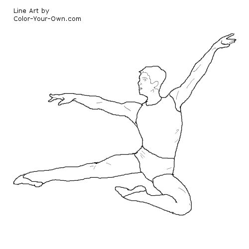 Ballerina and Ballet Dancer Online Coloring Pages | 500x500