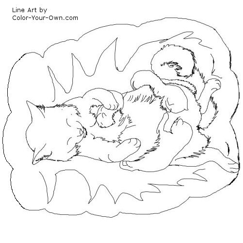 Line Art By Color Your Own : Mother cat and kittens coloring pages page