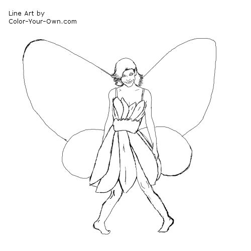 Flower Butterfly Fairy Girl Coloring Pagerhcoloryourown: Coloring Pages Butterfly Girl At Baymontmadison.com