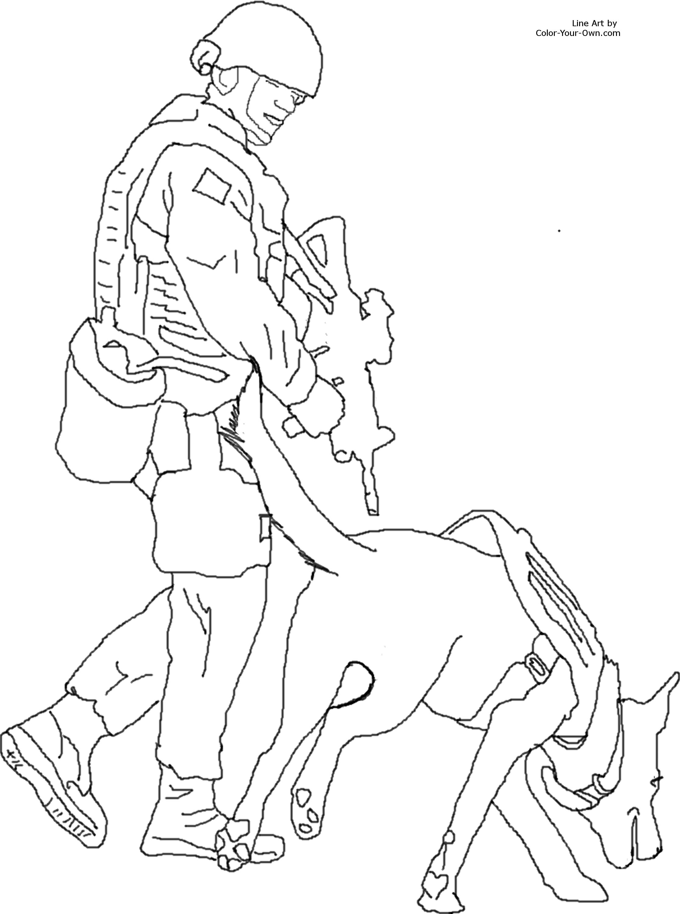 Bomb Detection Service Dog Coloring