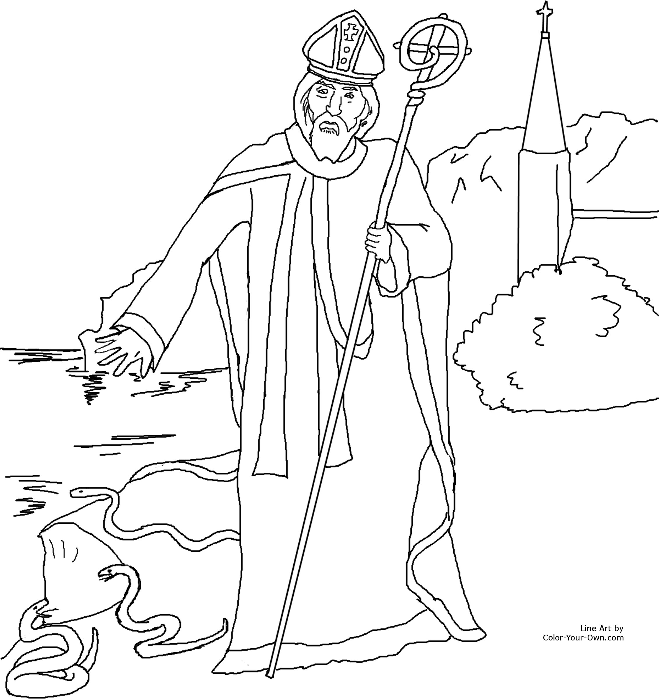 Saint Patrick Driving Out The Snakes Of Ireland Coloring Page